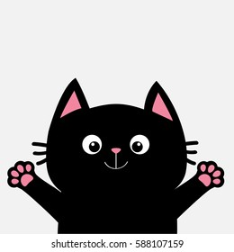 Black cat ready for a hugging. Open hand pink paw print. Kitty reaching for a hug. Funny Kawaii animal. Baby card. Cute cartoon character. Pet collection. Flat design White background Isolated. Vector