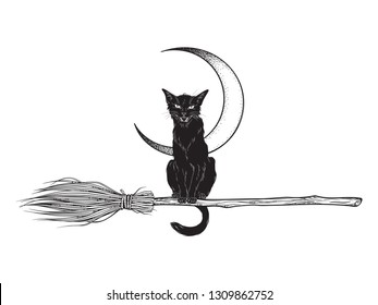 Black cat rides the broom magic vehicle of the witch hand drawn ink style boho chic sticker, patch, flash tattoo or print design vector illustration