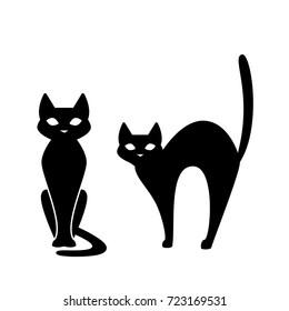 Black cat, scary Halloween illustration. Vector