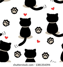 Black cat seamless pattern. hand drawn with  red hearts and footprint, cute animal on white background. Vector illustration.