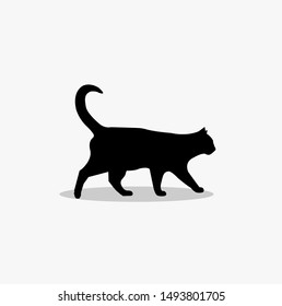 Black Cat Silhouette , Emotion little animal. Cartoon animal character design.  Flat vector illustration , easy to use and customize.