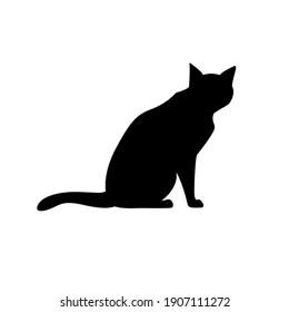 Black Cat Silhouette on White Background. Icon Vector Illustration. Concept for  Logo, Print, Sticker.
