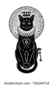 Black cat silhouette portrait with secret key in the background of the moon. Ideal Halloween background, tattoo art, boho design. Perfect for print, posters, t-shirts,textiles. Vector illustration.