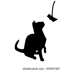 Black cat silhouette reaching up for toy
