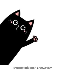 Black cat silhouette waving hand. Pink paw print. Cute cartoon kawaii funny sad face character. Pet baby collection. Notebook cover. Flat design. Scandinavian style. White background. Isolated. Vector