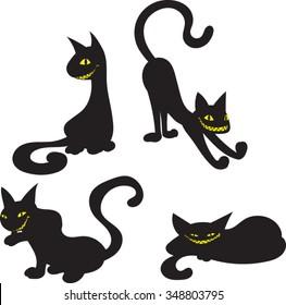 Black Cat Silhouettes - Vector Illustration