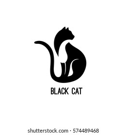 Black Cat Sitting and Looking Away. Vector Logo with Negative Space. Laconic Symbol for Icons, Logos, Badges and Emblems. Friday 13th Sign
