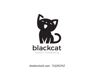 Black Cat sitting smiling Logo design vector template Negative space style. Home pet veterinary clinic store Logotype concept icon