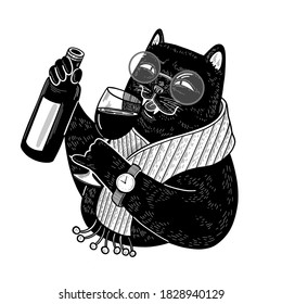 Black cat sommelier with bottle and glass of wine. Stylish character doodle illustration for menu, print, card, poster, wallpaper