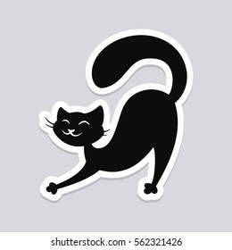 Black cat stretching. Wall sticker, decal or decoration