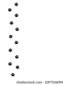 black cat trace.  icon isolated on white. Vector flat illustration. White background with kitty paw footprint, footstep.