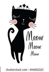 Black Cat Vector Design.Book illustrations for children. Meow slogan.