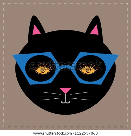03597fe241ed Black Cat Wearing Glasses Stock Vector (Royalty Free) 1122537863 ...