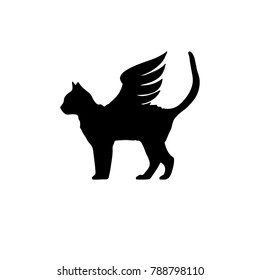 Black cat with wings. Cat with wings icon. Winged cat logo template. Vector illustration.