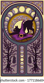 Black cat and witch hat, art nouveau style card, vector illustration
