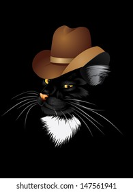 Black cat with yellow eyes in cowboy hat.