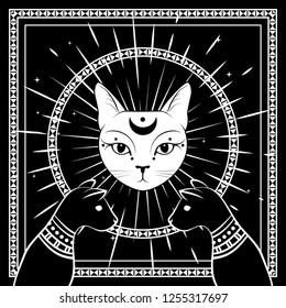 Black cats, cat face with moon on night sky with ornamental round frame.Magic, occult symbols. Witchcraft theme for t-shirt, textiles and print design. Vector illustration.
