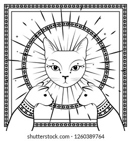 Black cats, cat face with moon on night sky with ornamental round frame. Magic, occult symbols. Witchcraft theme for t-shirt, textiles and print design. Vector illustration.