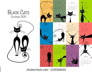 Black cats. Design calendar 2019