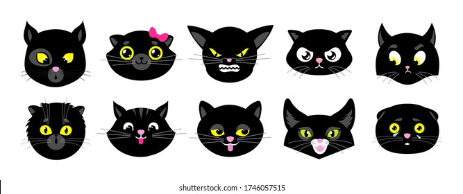 Black cats faces. Isolated flat kittens, halloween cat avatars. Emotional animals stickers. Cute emoji characters clipart. Funny pets heads vector collection