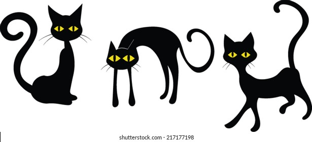 Black Cats - Halloween - Vector Image