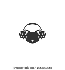 Black cat's head with headphones icon isolated on white. tough, cool tom cat. hipster avatar. Listen sound or music sign. Vector flat illustration. Magic, halloween, witchery, mascot symbol.