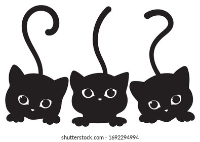 Black cats looking out the window. Cartoon cute cats look out of the window. Black white vector illustration for children. Tattoo.