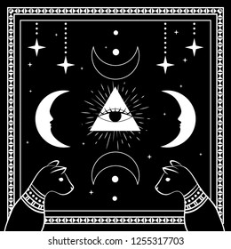 Black cats, night sky with moon and stars. Frame for sample text. Magic, occult symbols. Witchcraft theme for t-shirt, textiles and print design. Vector illustration.