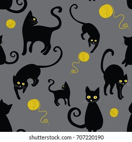 Black cats silhouettes seamless pattern. Vector illustration of cats with wool cloths on grey background