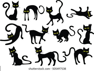 Black Cats - Silhouettes - Vector Clip-art