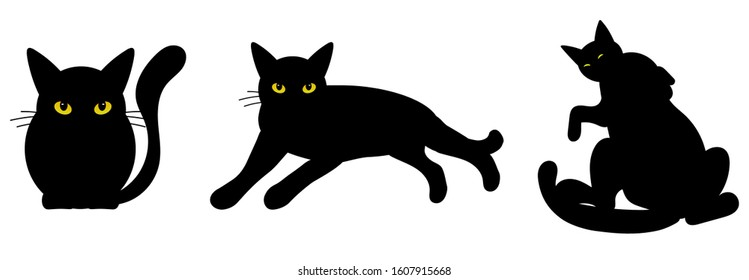 Black Cats with yellow eyes, vector silhouette illustrations
