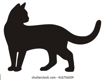 black cat,standing, silhouette, vector icon