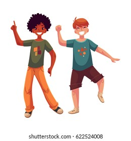 Black and Caucasian boys, kids, friends having fun, dancing at party, cartoon vector illustration isolated on white background. Happy boys dancing, jumping at a kids, birthday party, having fun
