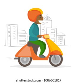 A black caucasian man in a helmet driving a motorcycle. A scooter as a mean of transport. City transportation concept. Vector cartoon illustration isolated on white background. - Shutterstock ID 1086601817