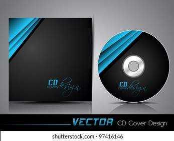 Black CD cover with folded blue ribbon , eps 10 abstract illustration.