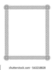 Black Celtic border frame on a white background. Vector illustration.