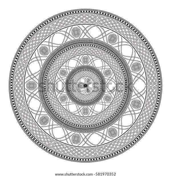 Black Celtic decorative mandala on a white background. Vector illustration.