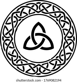 Black Celtic ring with a repeating pattern and a Celtic Knot in the middle. Can represent the Irish or Scottish culture, druids, Medieval times, a coat of arms, mythology, fantasy and more.