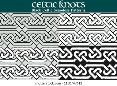 Black Celtic Seamless Pattern. 4 different versions of a seamless pattern with Celtic knots: with white filling, without filling, with shadows and with a black background.