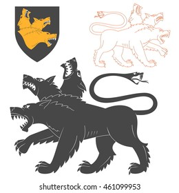 Black Cerberus Illustration For Heraldry Or Tattoo Design Isolated On White Background. Heraldic Symbols And Elements