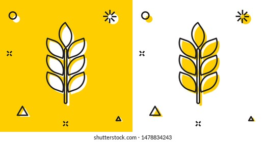 Black Cereals set with rice, wheat, corn, oats, rye, barley icon isolated on yellow and white background. Ears of wheat bread symbols. Agriculture wheat. Random dynamic shapes. Vector Illustration