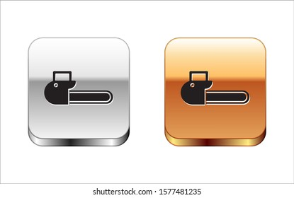 Black Chainsaw icon isolated on white background. Silver-gold square button. Vector Illustration