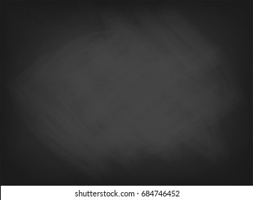 Black chalkboard texture. School board background with traces of chalk. Cafe, bakery, restaurant menu template. Vector