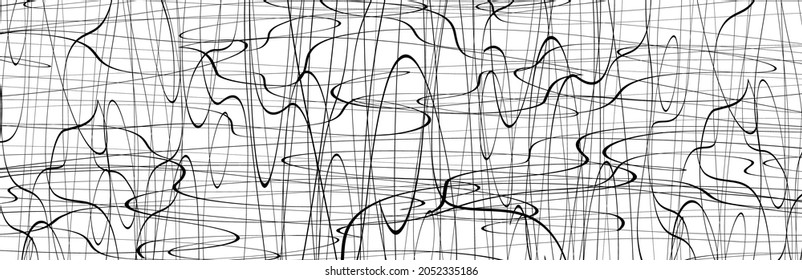 Black chaotic lines background. Hand drawn lines. Tangled chaotic pattern. Vector illustration.