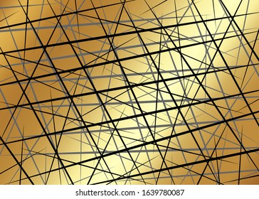 Black Chaotic Lines, Random Chaotic Lines, Scattered Lines, Gold Luxury Lines Asymmetrical Texture Vector Abstract Template Art simple striped element Illustration on golden metal background