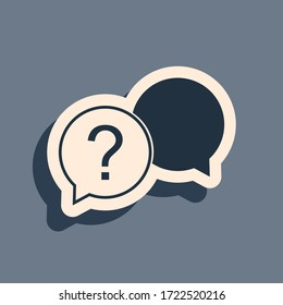 Black Chat question icon isolated on grey background. Help speech bubble symbol. FAQ sign. Question mark sign. Long shadow style. Vector Illustration