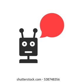 black chatbot with speech bubble. concept of cyborg ai, irc, chatter box, engine, networking, android, droid, communication. flat style trend modern logotype graphic design element on white background