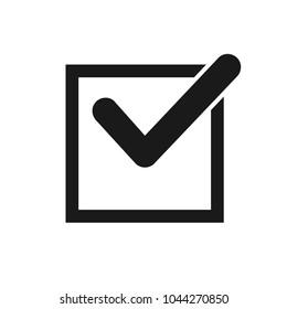 Black check mark icon in a box. Check list button icon