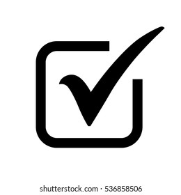 Black check mark icon in a box. Tick symbol in black color, vector illustration.