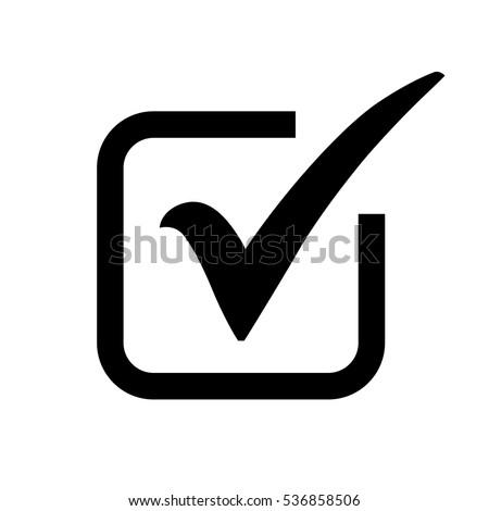 Black Check Mark Icon Box Tick Stockvector Rechtenvrij 536858506